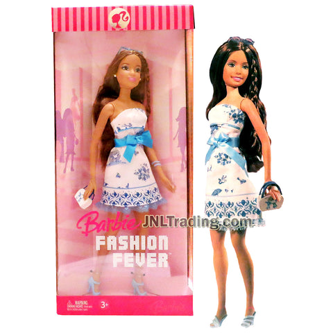 Year 2006 Barbie Fashion Fever Series 12 Inch Doll Set - Sweet, Creative and Girly TERESA in Strapless White Dress with Blue Bow Plus Blue High Heel Shoes, Sunglasses and Purse