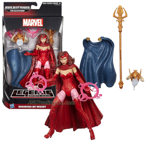 "Hasbro Marvel Legends Infinite The Allfather Series 6"" Tall Figure - SCARLET WITCH w/ Energy Rings & The Allfather's Head, Cape & Trident"