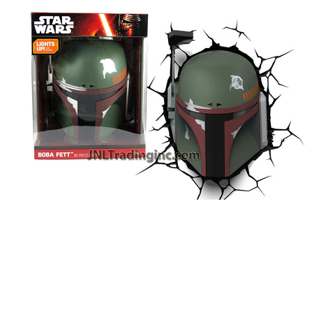 3DLightFX Star Wars Series Battery Operated 3D Deco Night Light - BOBA FETT Helmet with Light Up LED Bulbs