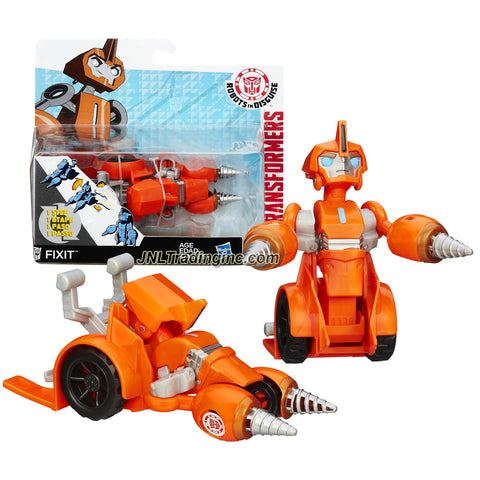Product Features Includes: Autobot FIXIT (Vehicle Mode: Drill Car) Figure measured approximately 5 inch tall Produced in year 2014 For age 5 and up Product Description Hasbro Year 2014 Transformers Robots in Disguise Animation Series One Step Changer 5 Inch Tall Robot Action Figure - Autobot FIXIT (Vehicle Mode: Drill Car)