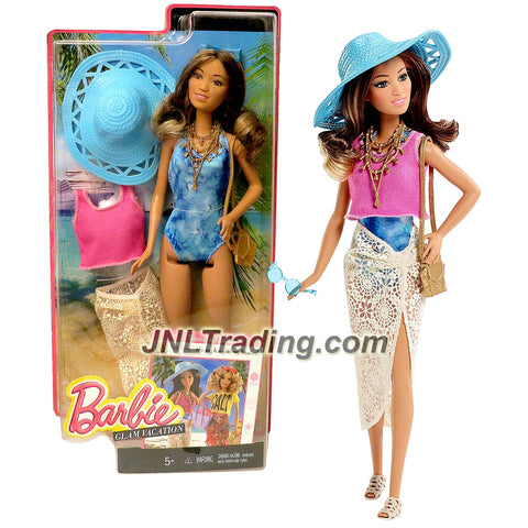 Mattel Year 2015 Barbie Glam Vacation 12 Inch Doll - TERESA DGY76 in Swimsuit with Pink Tops, Lace Swim Cover, Sunglass, Beach Hat, Necklace and Purse