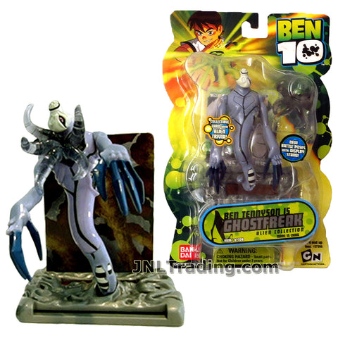 Cartoon Network Year 2007 Ben 10 Alien Collection Series 4 Inch Tall Figure  - Ben Tennyson as GHOSTFREAK with Display Stand and Collectible Card
