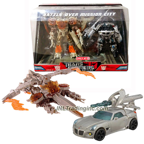 "Hasbro Year 2008 Transformers Movie SCREEN BATTLES 2 Pack Robot Figure - BATTLE OVER MISSION CITY with Voyager Class 7"" Tall Decepticon MEGATRON w/ Missile Launcher and 1 Missile (Vehicle Mode: Cybertron Jet) Plus Deluxe Class 6"" Tall AUTOBOT JAZZ w/ Telescoping Sword (Vehicle Mode: Pontiac Solstice)"