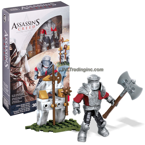 Year 2015 Mega Bloks Assassins Creed Series Micro Figure CNG89 - HEAVY BORGIA SOLDIER with Detachable Armor, Halberd, Battle Axe, Morning Star and Weapon Rack