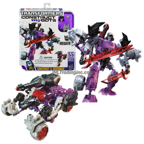 Hasbro Year 2013 Transformers Construct-Bots Series 6 Inch Tall Elite Class Robot Action Figure Set #E1:05 - Decepticon Leader MEGATRON with Vehicle Mode as Battle Tank (Total Pieces: 55)