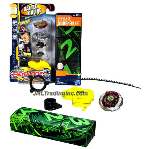 Hasbro Year 2010 Beyblade Metal Fusion High Performance Battle Tops TOURNAMENT Set - Defense T125JB BB65 ROCK SCORPIO with Face Bolt, Scorpio Energy Ring, Rock Fusion Wheel, Tornado T125 Spin Track, Jog Ball JB Performance Tip, Ripcord Launcher and Online Code Plus Exclusive Case