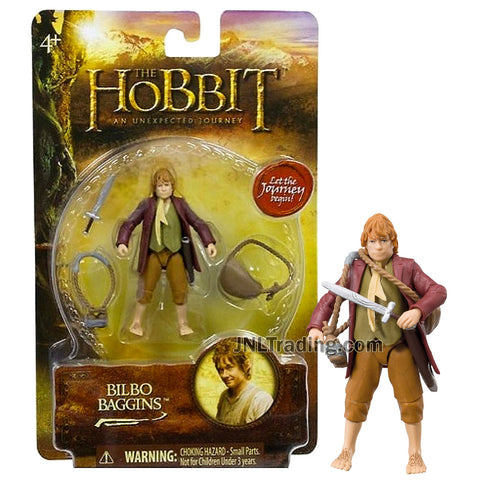 Year 2012 The Hobbit Movie An Unexpected Journey Series 3 Inch Tall Action Figure - BILBO BAGGINS with Bag, Bottle Carrier and Sword