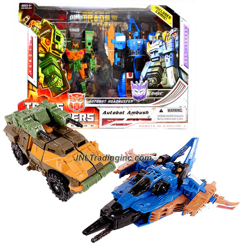 Hasbro Year 2008 Transformers Universe G1 Series Exclusive 2 Pack Robot Action Figure Set - AUTOBOT AMBUSH with Deluxe Class 6 Inch Tall Autobot ROADBUSTER Plus Voyager Class 7 Inch Tall Decepticon DIRGE Plus Bonus Comic