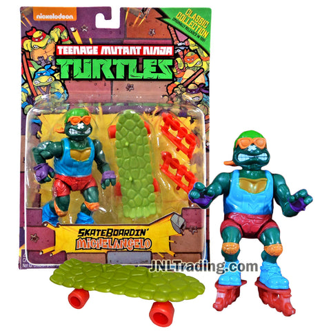 Year 2015 Teenage Mutant Ninja Turtles TMNT 1992 Classic Reproduction 5 Inch Figure - SKATEBOARDIN' MICHELANGELO with Skateboard and Rollerblades
