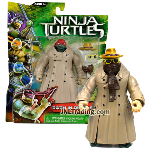 Year 2014 Teenage Mutant Ninja Turtles TMNT Movie Series 5 Inch Tall Figure - RAPH IN DISGUISE with Trench Coat, Hat, Sunglasses and Scarf