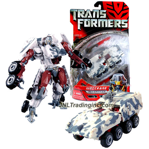 Hasbro Year 2006 Transformers Movie Series 6 Inch Tall Deluxe Class Robot Action Figure - Decepticon WRECKAGE with 2 Spring Loaded Blades and Extending Cannon (Vehicle Mode: LAV-C2 Armored Personnel Carrier)