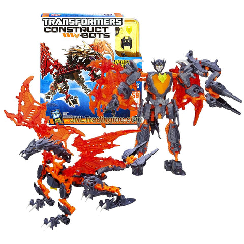 "Hasbro Year 2013 Transformers ""Beast Hunters Predacons Rising"" Construct-Bots Series Exclusive 6 Inch Tall Robot Action Figure Set - Predacon PREDAKING with Alternative Mode as Wing Dragon (Total Pieces: 59)"