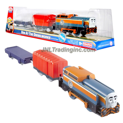 "Fisher Price Year 2011 Thomas and Friends DVD Series As Seen On ""Day of the Diesels"" Trackmaster Motorized Railway Battery Powered Tank Engine 3 Pack Train Set - DEN AT THE DIESELWORKS (V9037) with Den the Diesel Engine, Red Caboose and Flatbed Trailer"