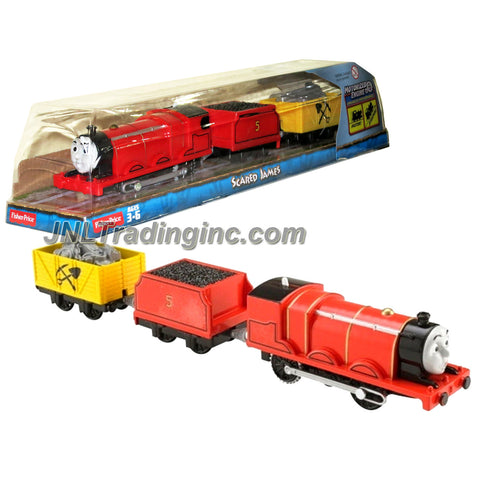"Fisher Price Year 2014 Thomas and Friends Trackmaster As Seen on DVD "" Tale of the Brave"" Enhanced Motorized Railway Battery Powered Engine 3 Pack Train Set - SCARED JAMES the Red Color Mixed-Traffic Engine with ""Coal Loaded"" Car and ""Rock Loaded"" Yellow Car"