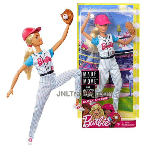 Year 2016 Barbie Made To Move You Can Be Anything Series 12 Inch Doll - Caucasian BASEBALL PLAYER in #59 Uniform with Baseball, Mitt Glove and Helmet