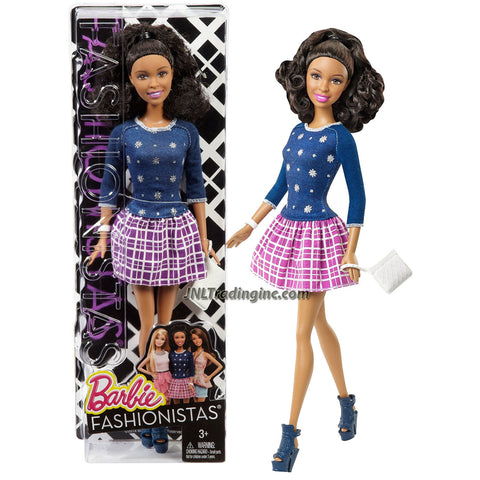 Mattel Year 2014 Barbie Fashionistas Series 12 Inch Doll Set - NIKKI (CFG17) in Snowflake Pattern Blue Sweater and Purple White Square Pattern Skirt Plus Purse and Watch