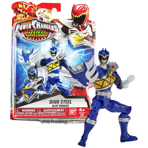 Bandai Year 2015 Saban's Power Rangers Dino Super Charge Series 5 Inch Tall Action Figure - Dino Steel BLUE RANGER aka Koda with Stego Shield