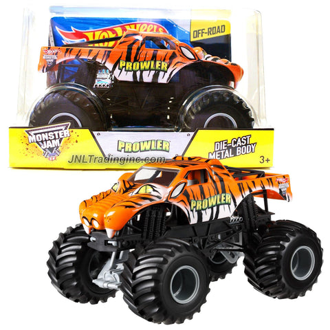 "Hot Wheels Year 2014 Monster Jam 1:24 Scale Die Cast Official Monster Truck Series - Tiger PROWLER (CCB01) with Monster Tires, Working Suspension and 4 Wheel Steering (Dimension - 7"" L x 5-1/2"" W x 4-1/2"" H)"