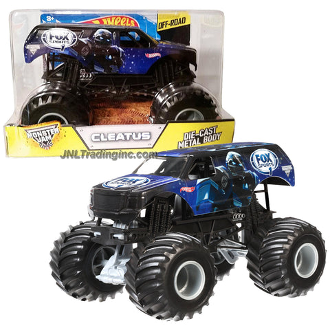 "Monster Jam 1:24 Scale Die Cast Metal Body Monster Truck #CGD68 - ""Fox Sports 1"" CLEATUS with Monster Tires, Working Suspension and 4 Wheel Steering"