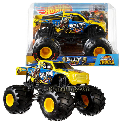 Hot Wheels Year 2018 Monster Jam 1:24 Scale Die Cast Metal Body Truck - SKELETON CREW FYJ89 with Monster Tires, Working Suspension and 4 Wheel Steering