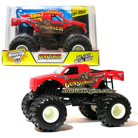"Hot Wheels Year 2015 Monster Jam 1:24 Scale Die Cast Official Monster Truck Series - GUNSLINGER (CGD73) with Monster Tires, Working Suspension and 4 Wheel Steering (Dimension - 7"" L x 5-1/2"" W x 4-1/2"" H)"