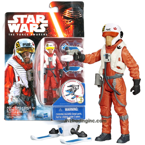 Hasbro Year 2015 Star Wars The Force Awakens Series 4 Inch Tall Action Figure : X-WING PILOT ASTY (B4167) with Blaster Gun Plus Build A Weapon Part #3