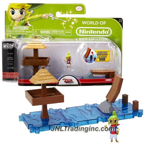 Jakks Pacific Year 2015 World of Nintendo The Legend of Zelda - Windwaker Microland Set - TETRA & OPEN OCEAN with 3 Ocean Pieces and Tetra Figure
