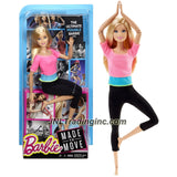 Mattel Year 2015 Barbie Made to Move Series 12 Inch Doll - BARBIE (DHL82) in Pink Blue Tops and Black Pants with Ultimate Posing Feature