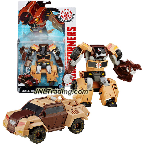 Hasbro Year 2015 Transformers Robots in Disguise Warrior Class 5 Inch Tall Figure - Decepticon QUILLFIRE with Blaster (Vehicle: Pick-Up Truck)