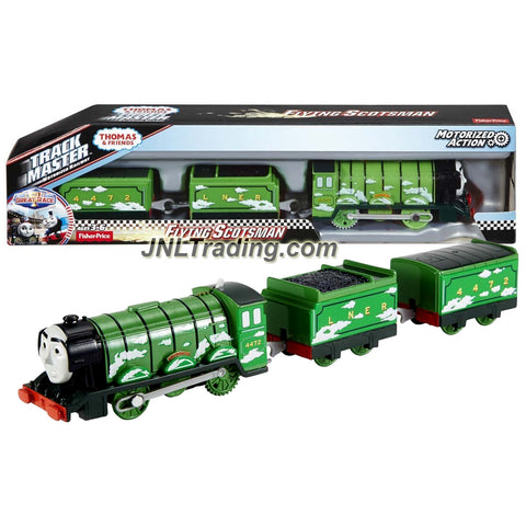 Fisher Price Year 2016 Thomas & Friends Trackmaster Series Motorized Railway 3 Pack Train Set - FLYING SCOTSMAN with Coal Loaded Car and Caboose