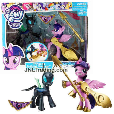 Hasbro Year 2016 My Little Pony Guardians of Harmony Series 2 Pk 4 Inch Figure Set - PRINCESS TWILIGHT SPARKLE vs CHANGELING with Spear & Armor Wings
