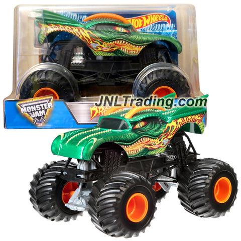 Hot Wheels Year 2016 Monster Jam 1:24 Scale Die Cast Metal Body Truck - DRAGON (CGD65) with Monster Tires, Working Suspension and 4 Wheel Steering