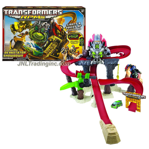 "Hasbro Year 2009 Transformers Movie Series 2 ""Revenge of the Fallen"" Robot Powered Machines RPMs Vehicle Track Set - CONSTRUCTICON DEVASTATOR SHOWDOWN with Power Launcher, Lights and Sounds of Optimus Prime and Constructicon Devastator Plus Bonus Autobot Skids Vehicle (Vehicle Does Not Transform to"