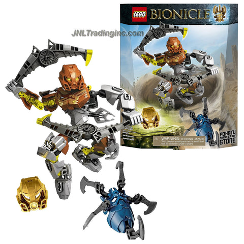 Lego Year 2015 Bionicle Series 7 Inch Tall Figure Set #70785 - POHATU MASTER OF STONE with Mask, 2 Convertible Jeterangs Stormerang Weapon Plus Golden Mask of Stone and Skull Spider (Total Pieces: 66)