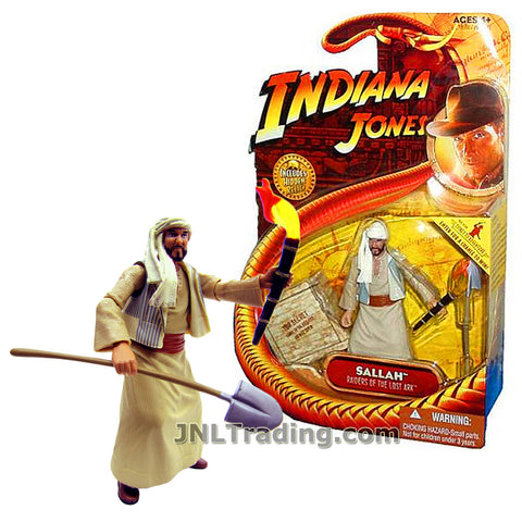 Indiana Jones Year 2008 Raiders of the Lost Ark Movie Series 4 Inch Tall Figure - Egyptian Excavator SALLAH in Robe and Head Wrap with Shovel and Torch Plus Hidden Relic