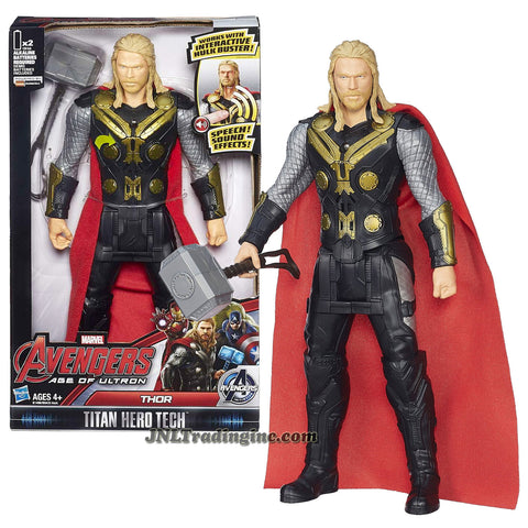 "Hasbro Year 2015 ""Marvel Avengers Age of Ultron"" Titan Hero Tech 12 Inch Tall Electronic Action Figure - THOR with Speech Sound Effect Feature Plus Mjolnir Hammer"
