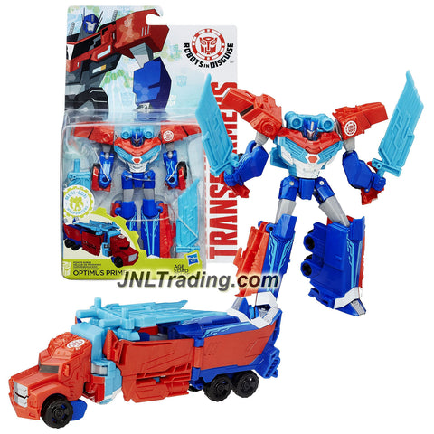 Hasbro Year 2015 Transformers Robots in Disguise Warrior Class 5 Inch Tall Figure - Power Surge OPTIMUS PRIME with 2 Swords (Vehicle: Rig Truck)