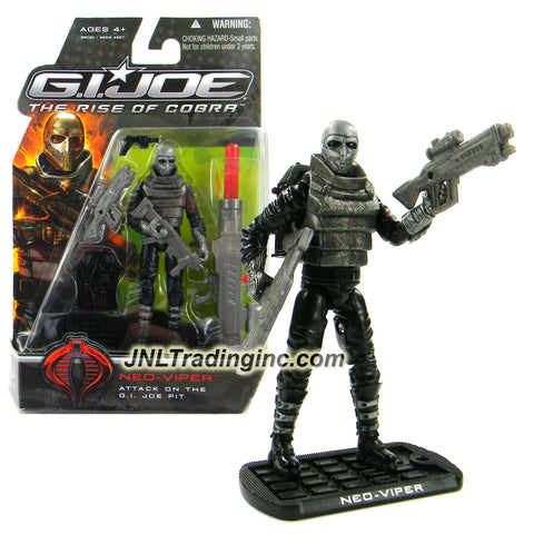 "Hasbro Year 2008 G.I. JOE Movie ""The Rise of Cobra"" Series 4 Inch Tall Action Figure - Attack on the GI Joe Pit NEO VIPER with 2 Rifles, Gun, Missile Launcher with 1 Missile, Backpack and Display Base"
