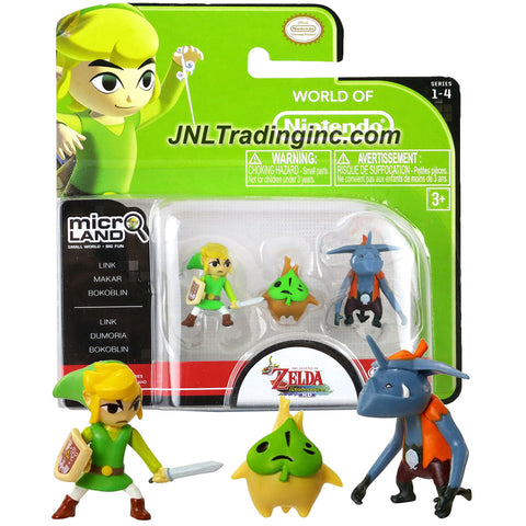 "Jakks Pacific Year 2015 World of Nintendo ""Zelda The Windwaker"" Series 3 Pack 1 Inch Tall Micro Land Mini Figure - LINK, MAKAR and BOKOBLIN"