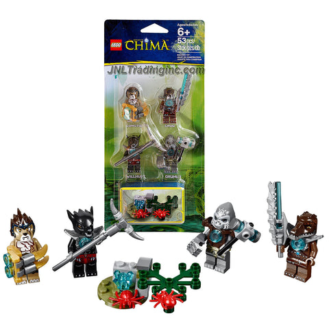 "Lego Year 2014 ""Legends of Chima"" Series Minifigure Accessory Set #850910 with 4 Minifigures: Crug, Grumlo, Longtooth and Wilhurt Plus Assortment of Weapons and Buildable Mini Model of the Chima Outlands with 2 Spiders (Total Pieces: 53)"