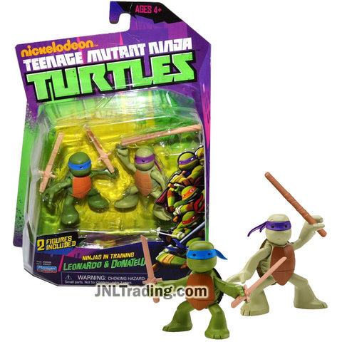 Year 2013 Teenage Mutant Ninja Turtles TMNT Series 2 Pk 2.5 Inch Tall Figure - Ninjas in Training LEONARDO and DONATELLO with Katana Swords and Staff