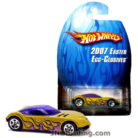 Hot Wheels Year 2007 Easter Egg-Clusives Series 1:64 Scale Die Cast Car Set - Gold Color Sports Coupe GOLDEN AROOW with Purple Flame Deco L7960