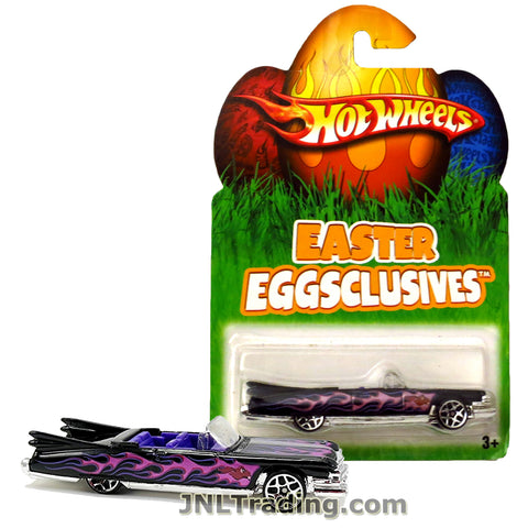Hot Wheels Year 2007 Easter Eggsclusives Series 1:64 Scale Die Cast Car Set - Black Classic '59 CADILLAC CONVERTIBLE with Purple Flame Deco N1140