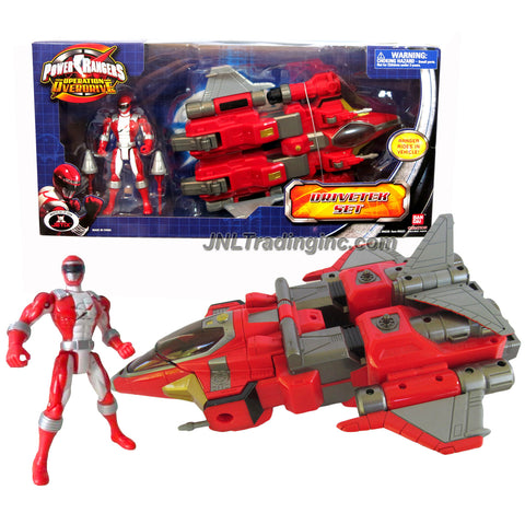 Bandai Year 2007 Power Rangers Operation Overdrive 11 Inch Long Action Vehicle Set - DRIVETEK SET with Missile Launcher, 2 Missiles and Red Power Ranger