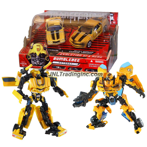 Hasbro Year 2007 Transformers Movie Series 1 Exclusive 2 Pack Deluxe Class 6 Inch Tall Robot Action Figure Collectible Set - EVOLUTION OF A HERO - Classic Camaro BUMBLEBEE with Missile Launchers and Battle Damaged Camaro Concept BUMBLEBEE with Cannon that Converts to Blade