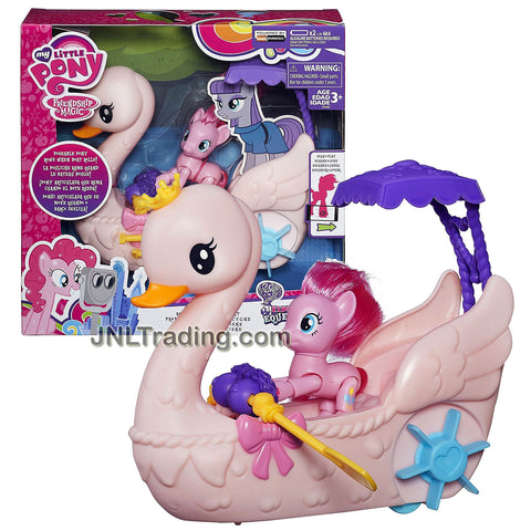 Hasbro Year 2016 My Little Pony Explore Equestria Series Playset - PINKIE PIE ROW & RIDE SWAN BOAT with Sounds Plus Pinkie Pie Pony Figure