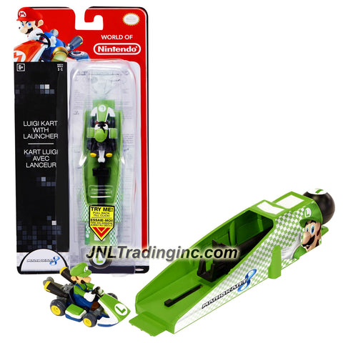 "Jakks Pacific Year 2014 World of Nintendo ""Mariokart 8"" Series 2-1/2 Inch Long Vehicle - LUIGI KART with LAUNCHER"