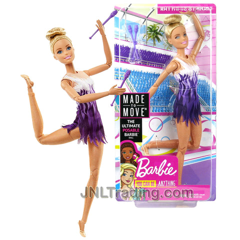 Year 2017 Barbie Made To Move You Can Be Anything Series 12 Inch Doll - Caucasian RHYTHMIC GYMNAST with Gymnastic Batons