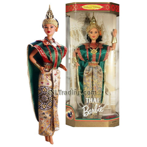 Year 1997 Barbie Collector Edition Dolls of the World Series 12 Inch Doll - THAI Barbie with Thailand Traditional Outfits, Cape, Jewelry, Headpiece, Hairbrush and Doll Stand