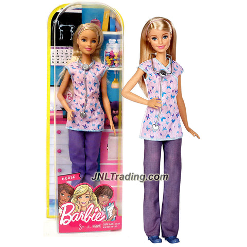 Mattel Year 2016 Barbie Career Series 12 Inch Doll - BARBIE as NURSE (DVF57) with Stethoscope